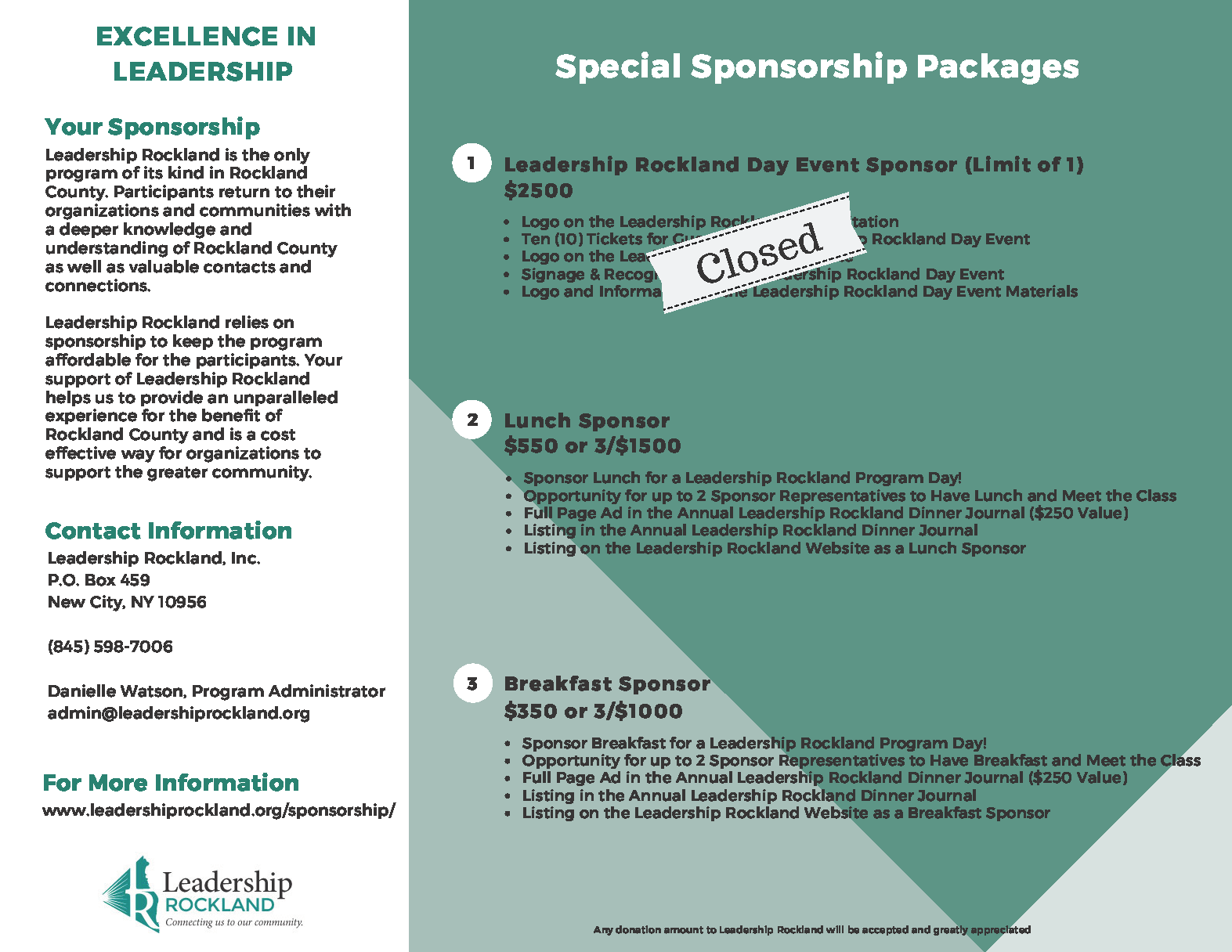 Sponsorship Opportunities Leadership Rockland